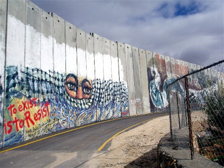 The separation wall that divides much of Israel and the Palestinian territories (pictured here outside Bethlehem) has become a symbol of controversial Israeli policies.