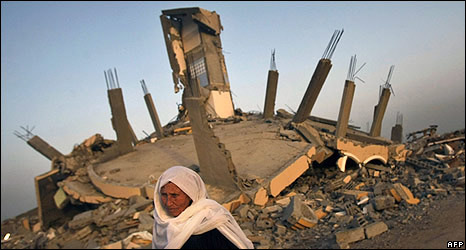 Amnesty said the way houses had fallen suggested they had been blown up from under walls and pillars