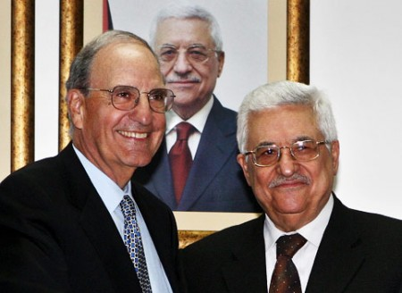US Middle East envoy George Mitchell meets with Palestine Authority President Mahmoud Abbas in Ramallah. The American effort, started by the Bush Administration and continued by President Barack Obama to impose an Israeli-friendly Palestinian leadership has failed, according to new surveys of Palestinians. (Thaer Ganaim/MaanImages)
