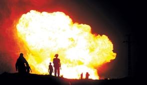 One of the Egypt pipeline blasts.  Photo by: AP