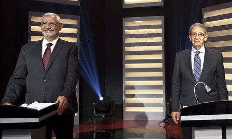 Egypt's presidential candidates Amr Moussa (right) and Abdel Moneim Abu Futuh during the televised presidential debate in Cairo. Photograph: Ahmed Hayman/EPA Millions of Egyptians tuned into the first ever presidential debate in the country's history on Thursday night between frontrunners Amr Moussa and Abdel-Moneim Abul-Futoh.